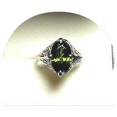 14k Ring - Lovely Natural Green ZIRCON -Vintage Art Deco - W. Gold Filigree Mtg