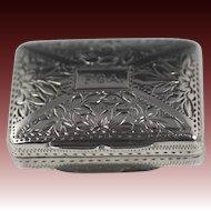 English Silver Vinaigrette by William Phillips Birmingham 1832-1833