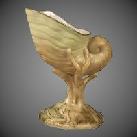 1899 Royal Worcester Miniature Blush Nautilus Form Vase