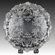 Beautiful Late 19th Century English Silver Plate Salver or Wine Coaster