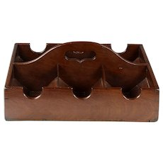 Rare Circa 1800 English Mahogany Wine Bottle Tray or Carrier