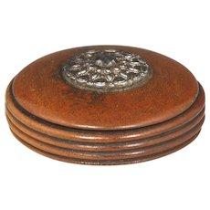 Fine Regency Boxwood Snuff Box with Cut Steel Decoration