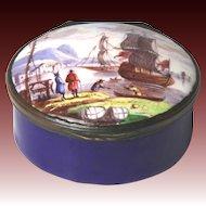 Fine Late Georgian Hand Painted Battersea Bilston Staffordshire Enamel Snuff Box with Nautical Scene