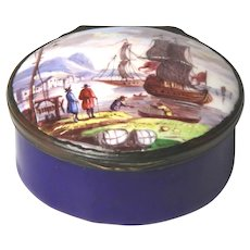 Fine Late Georgian Hand Painted Battersea Bilston Staffordshire Enamel Snuff Box with Nautical Scene