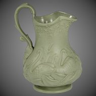 Wonderful Circa 1852 English Ridgway Relief Moulded Molded Pottery Jug in Swan and Bulrush Pattern