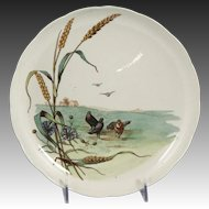 Charming Circa 1885 Brown, Westhead, Moore & Co. Low Porcelain Compote with Wood Pigeon Motif