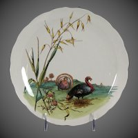 Charming Circa 1885 Brown, Westhead, Moore & Co. Porcelain Plate with Turkey Motif