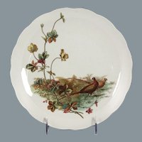Charming Circa 1885 Brown, Westhead, Moore & Co. Porcelain Plate with Pheasant Motif
