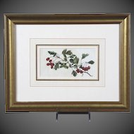 Charming Circa 1880 English Framed Watercolor of Hawthorn Berries