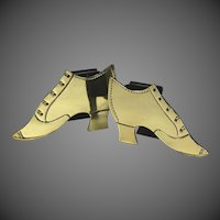 Charming Pair of 19th Century English Brass Shoe Form Match Holders.