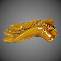 Fantastic Early 20th Century French Art Pottery Figural Leather Driving Glove