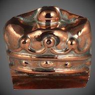 Delightful 19th Century Miniature Figural Crown Copper Culinary Mould Mold