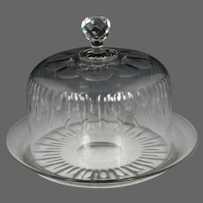 Circa 1850 French Hand Blown and Cut Colorless Glass Cheese Dish with Dome Cover