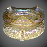 Circa 1903 Loetz Nautilus or Kralik Iridescent Glass Rose Bowl with Twisted Tadpole Decoration