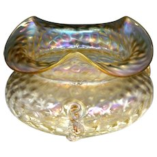 Circa 1903 Loetz Nautilus or Kralik Iridescent Glass Rose Bowl with Twisted Tadpole Decoration