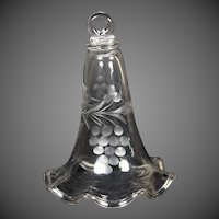 19th Century Blown Glass Smoke Bell With Engraved Decoration