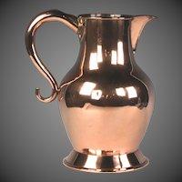 Handsome Circa 1800 English Copper Ale Jug with Dovetailed Seams