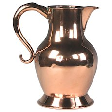Handsome Circa 1800 English Copper Ale Jug with Dovetailed Seams