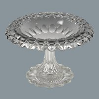 Superb Circa 1850 English Hand Blown & Cut Colorless Glass Compote