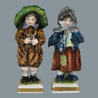 Circa 1910 Porcelain Street Urchins by Volkstedt Porcelain Factory Germany
