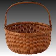 Desirable Circa 1930 Nantucket Lightship Swing Handle Basket by Ferdinand Sylvaro
