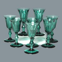 Rare and Wonderful Set of Eight Circa 1840 Blown and Cut Wine Glasses