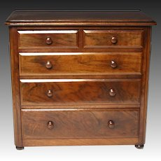 Lovely Circa 1870 English Walnut Apprentice Chest