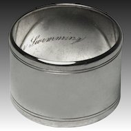 Circa 1930 Tiffany and Co. Makers Heavy Sterling Napkin Ring