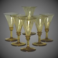 Wonderful Set of Six Circa 1830 English Blown And Cut Wine Glasses
