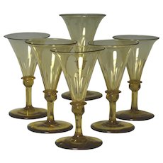 Wonderful Set of Six Circa 1830 English Blown And Cut Wine Glasses