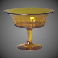 Beautiful Mid 19th Century Blown And Cut Amber Glass Compote