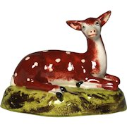 Charming 19th Century Staffordshire Creamware Figure of Recumbent Red Deer