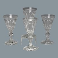 Fine Set of Four Circa 1830 English Hand Blown & Cut Wine Glasses