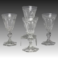 Fine Set of Four Circa 1830 English Hand Blown & Cut Wine Glasses