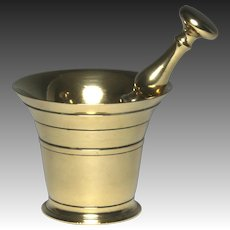 Superb Circa 1800 Heavy Brass Mortar and Pestle