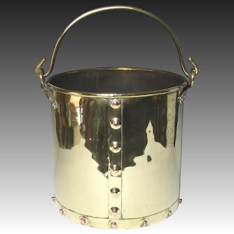 Wonderful Circa 1900 English Brass Coal Bucket With Copper Rivet Detail