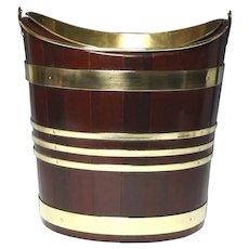 Fine Circa 1800 English or Irish Navette Form Mahogany Coopered Peat Bucket