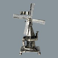 Late 19th Century Dutch Solid Silver Working Miniature Windmill