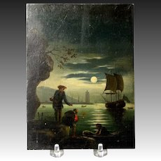 Charming Early 19th Century English or Dutch Oil on Tin Moonlit Harbor Scene