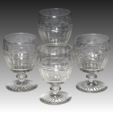 Wonderful Set of Four Circa 1830 English Cut Glass Rummers