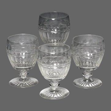 Wonderful Set of Four Circa 1830 English Cut Glass Rummers