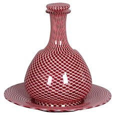 Circa 1920 Murano Latticino Glass Decanter and Tray