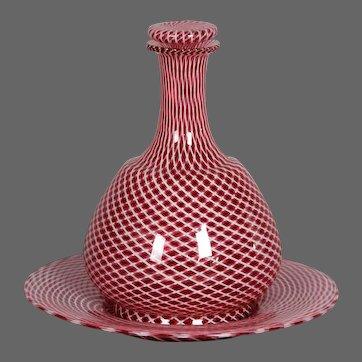 Circa 1920 Murano Latticino Glass Decanter and Tray