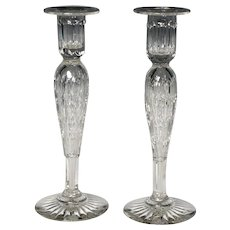 Pair of Early 20th Century American Cut Glass Candlesticks