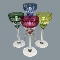 Circa 1930 Val St Lambert Overlay Glass Wines