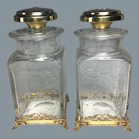 Fabulous Circa 1910 Hawkes Engraved Bath Jars in Sterling Mounts