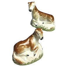 Charming Pair Circa 1800 Staffordshire Creamware Ponies