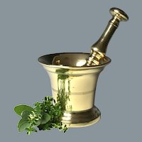 Pleasing 18th/19th Century English Brass Mortar and Pestle