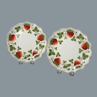 19th Century Wedgwood Hand Painted Plates with Strawberry Design