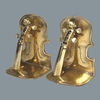 Pair of Vintage Musical Motif Brass Bookends